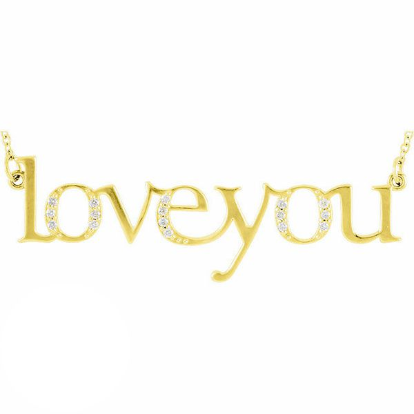 "Diamond ""Love You"" 14K Gold Pendant Necklace"