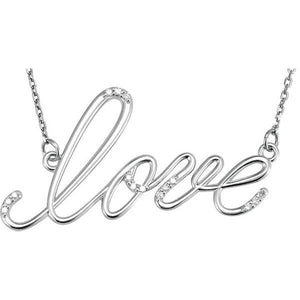 "Diamond ""Love"" 14K Gold Pendant Necklace"