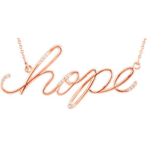 "Diamond ""Hope"" 14K Gold Pendant Necklace"