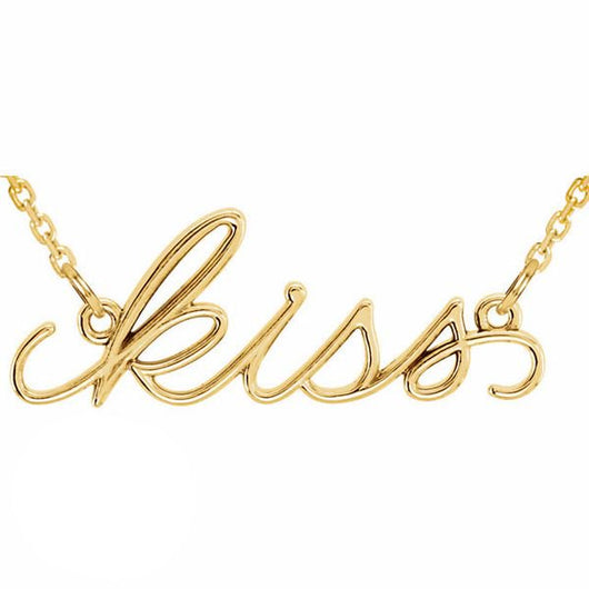 """Kiss"" 14K Gold Pendant Necklace"