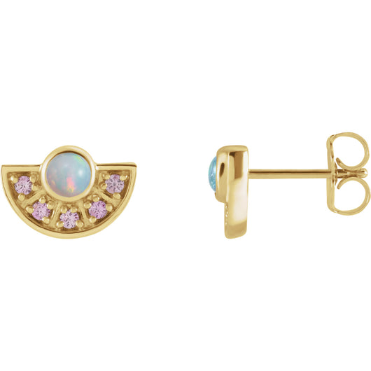 Ethiopian Opal & Pink Sapphire Fan Earrings in 14k Gold