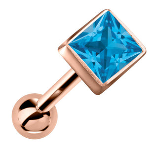 Princess Cut Bezel Set Genuine Birthstone 14k Gold Cartilage Stud Earring
