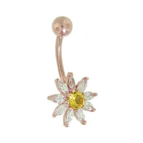 Diamond Daisy Flower 14k Gold Belly Button Ring