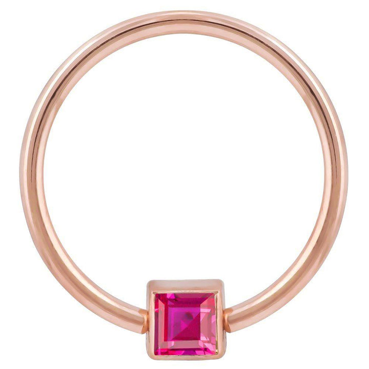 Rose Gold Red Cubic Zirconia Princess Cut 14k Gold Captive Bead Ring