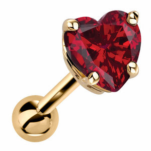 Heart Shaped Genuine Birthstone 14k Gold Cartilage Earring