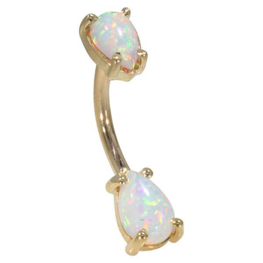 Genuine Pear Shaped Australian Opal 14k Gold Belly Button Ring