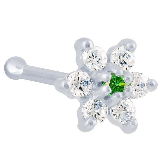 Cubic Zirconia Flower 14K Gold Nose Ring Bone