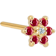 Colorful CZ Flower 14K Gold Nose Ring Pin Post
