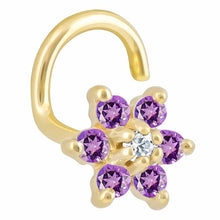 Colorful CZ Flower 14K Gold Nose Twist