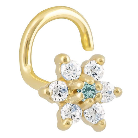 Cubic Zirconia Flower 14K Gold Nose Ring Twist