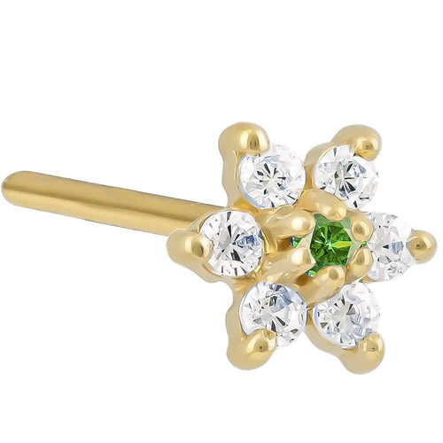 Cubic Zirconia Flower 14K Gold Pin Post Nose Ring