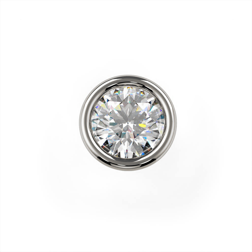 2mm Dainty Diamond Flush Bezel Nose Ring Stud