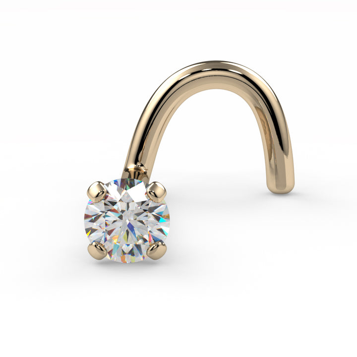 2mm Dainty Diamond Prong Nose Ring Stud