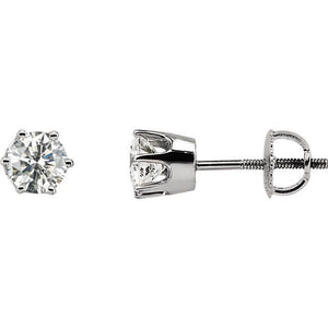 Diamond Stud 14K Gold Solitaire Earrings