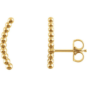 Beaded 14K Gold Ear Climber Earrings