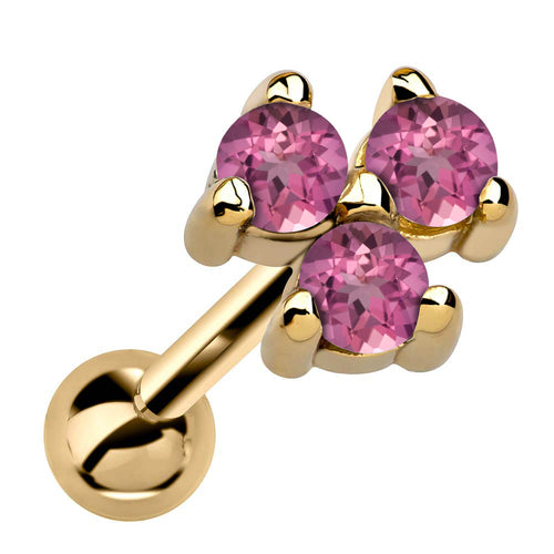 Triple Genuine Birthstone 14k Gold Cartilage Earring