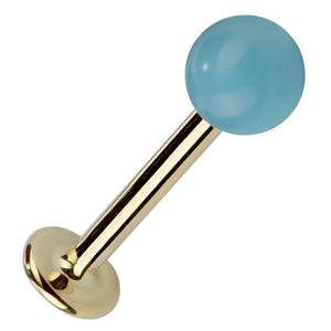 3mm Faux Turquoise 14K Gold Stud Labret