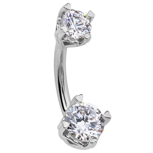 Secret Hearts Round Cubic Zirconia 14K Gold Belly Ring