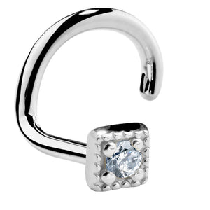 Modern Cubic Zirconia 14K Gold Square Nose Ring
