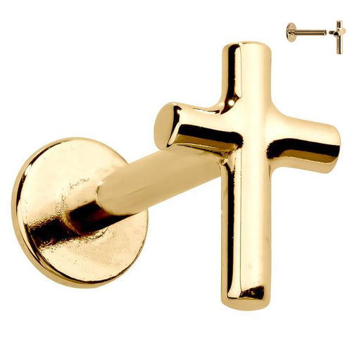 Simple Cross 14K Gold Labret Lip Ring Tragus Cartilage Earring