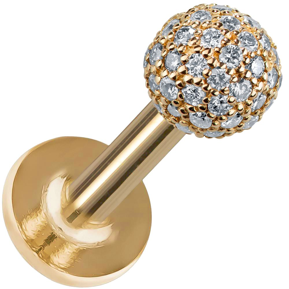 4mm Diamond Pave Ball 14K Gold Labret Stud Tragus Earring