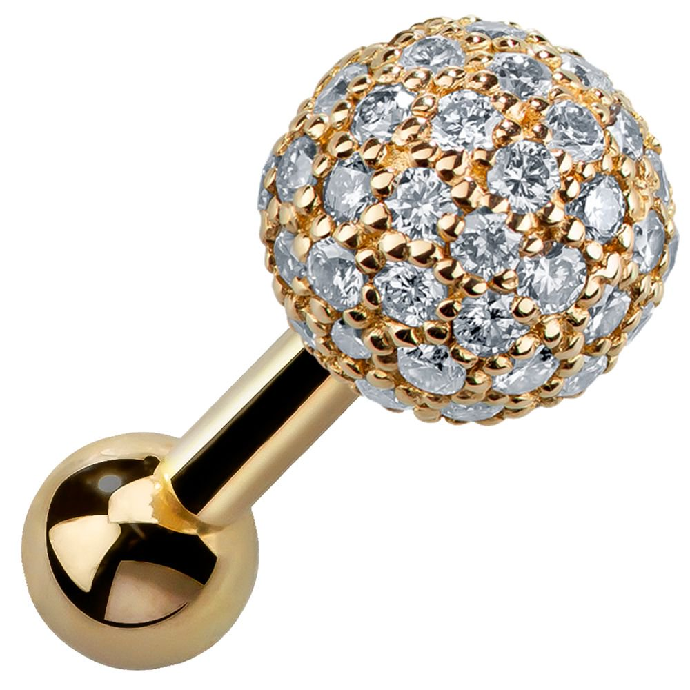 5mm Diamond Pave Ball 14k Gold Cartilage Stud