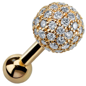 4mm Diamond Pave Ball 14k Gold Cartilage Stud