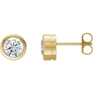 Bezel Set Diamond 14K Gold Solitaire Earrings