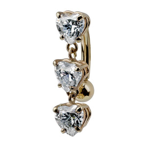 Trinity Heart Cubic Zirconia 14K Gold Internal Belly Ring