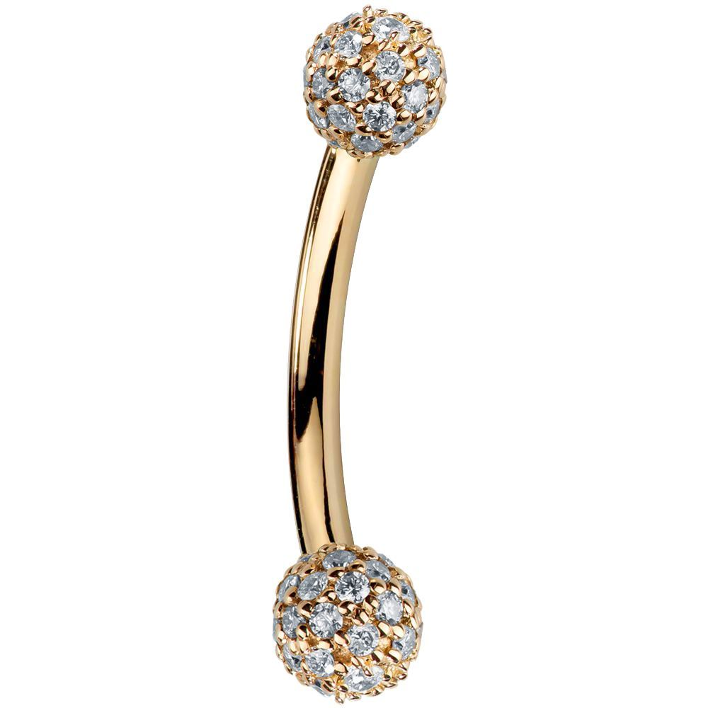 Diamond Pave 14K Gold Curved Barbell 4mm Balls