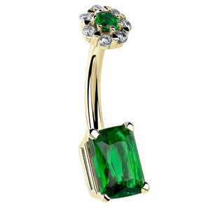 Emerald Cut Cubic Zirconia & Flower Cluster 14K Gold Belly Ring