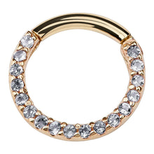 Clear CZ Pave 14K Gold Hinged Segment Clicker Ring