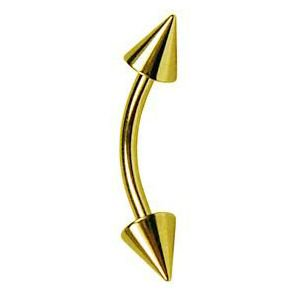 14K Gold Spike Curved Barbell