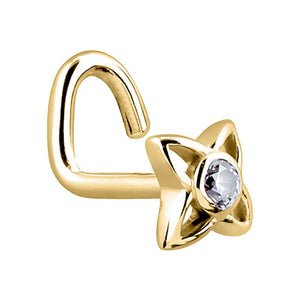 Star Cubic Zirconia Center 14K Gold Nose Ring