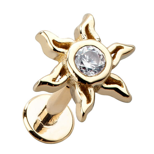 Sunburst 14K Gold Labret Stud for Cartilage Lip Tragus Piercings