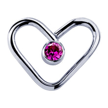 14K Gold Pink Cubic Zirconia Heart Shaped Earring