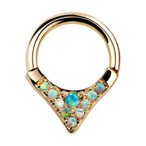 Tribal V-Shape Opal Solid 14K Gold Hinged Segment Ring for Septum Daith