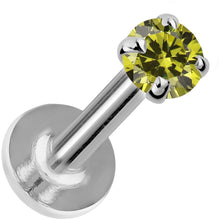 2mm Peridot 14K Gold Prong Set Labret