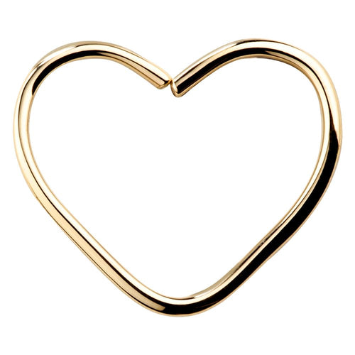 Heart 14K Gold Seamless Hoop Ring Daith or Rook Cartilage Earring