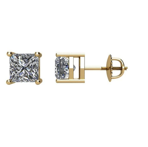 Princess-Cut Diamond Stud 14K Gold Earrings