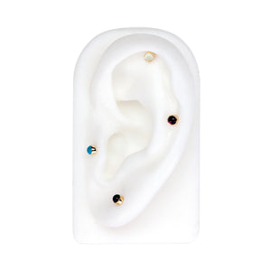 2mm Opal Cabochon Lip Tragus Nose Cartilage Flat Back Earring