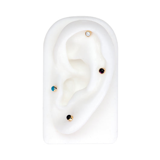 2mm Pearl Cabochon Lip Tragus Nose Cartilage Flat Back Earring