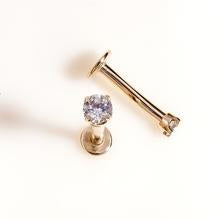 2.5mm Diamond High-Set 14k Gold Labret Cartilage Flat Back Earring
