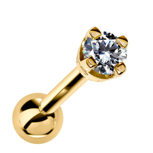 2mm Diamond High-Set Prong 14k Gold Cartilage Earring Stud