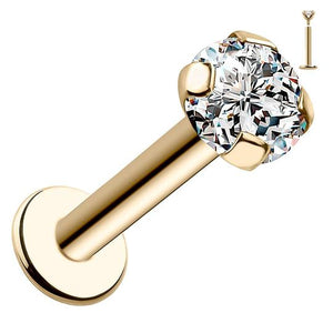 3mm CZ Low-Set Prong 14k Gold Labret Tragus Cartilage Flat Back Earring
