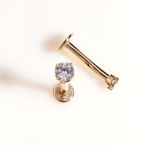 concept image for 3mm CZ Solid 14K Gold Labret Cartilage Flat Back Earring