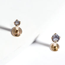 size concept images for 3mm CZ Solid 14K Gold Labret Cartilage Flat Back Earring