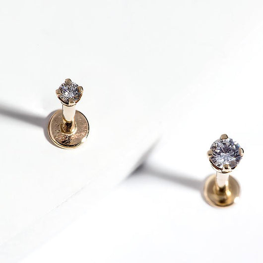 Life Style 3- 3mm Diamond High-Set 14k Gold Labret Cartilage Flat Back Earring