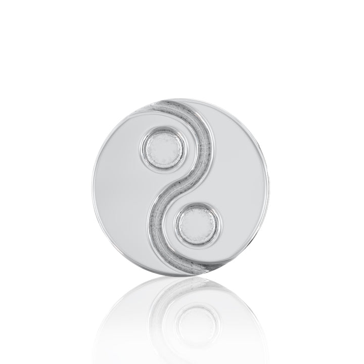 Front View -  3mm Yin Yang 14k Gold Flat Back Stud