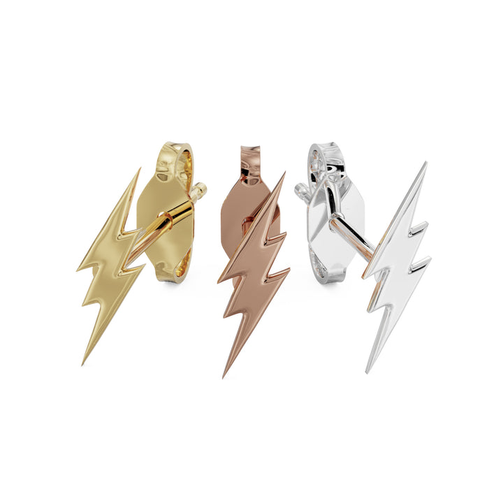 Lightning Bolt 14k Gold Stud Earrings all colors